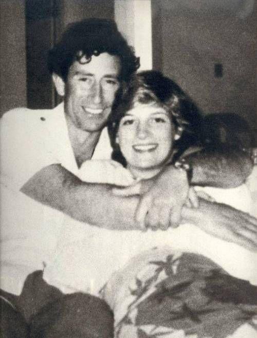 An unusually informal photo of Prince Charles of England and Princess Diana.