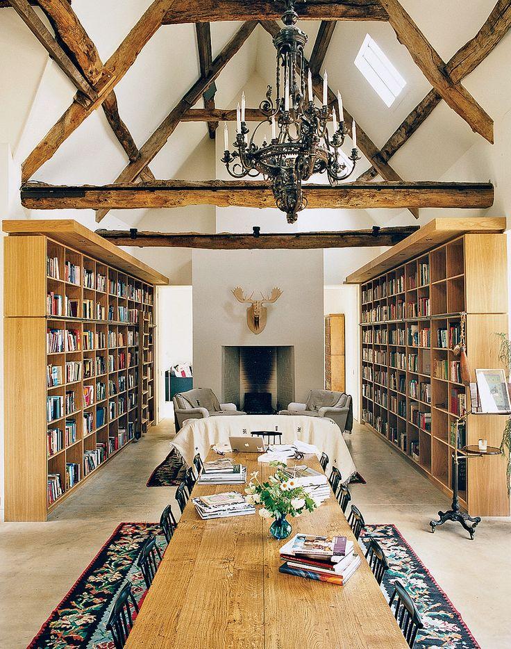 Converted barn with library shelves.: Bookshelves, Dreams Libraries, Convertible Barns, Home Libraries, Gorgeous Gardens, Interiors, Beams, English Countryside, Barns Home