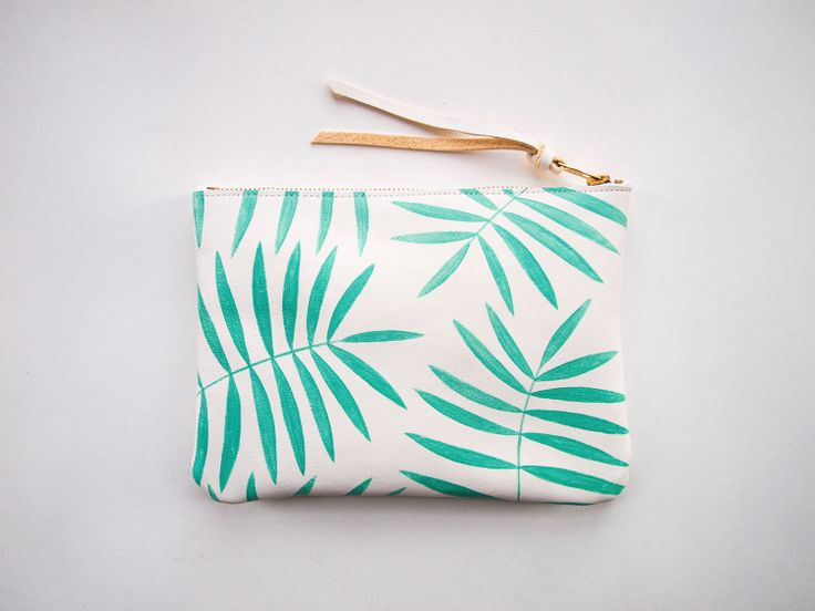 mint white palm leaf clutch