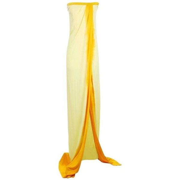 Preowned Todd Oldham Strapless Yellow Silk Maxi Dress, Spring 1997 ($850) ❤ liked on Polyvore featuring dresses, maxi dresses, yellow, silk drape dress, slit dress, yellow maxi dress, beige maxi dress and silk dress