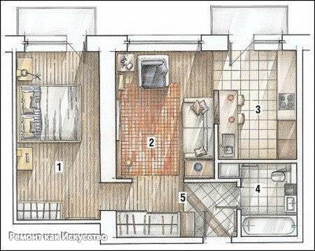 Способы изменения дизайна хрущевки - перепланировка    Один хороший способ дизайна хрущевки – объединение прихожей, кухни и зала. Но специалисты советуют не объединять полностью кухню с гостиной. Но даже если объединили кухню и гостиную, то пол у кухни надо выделить другим цветом. Если вы положили в зале ламинат, то на кухне положите линолеум.    В меньшую комнату, вы можете немного убрать стену, и оставить там места только для кровати, на которой будете спать сами. Также стоит убрать стенку…