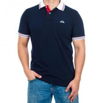 Camiseta Polovers Polo Slim Fit-Azul Cuello Blanco Franja Azul con Rojo