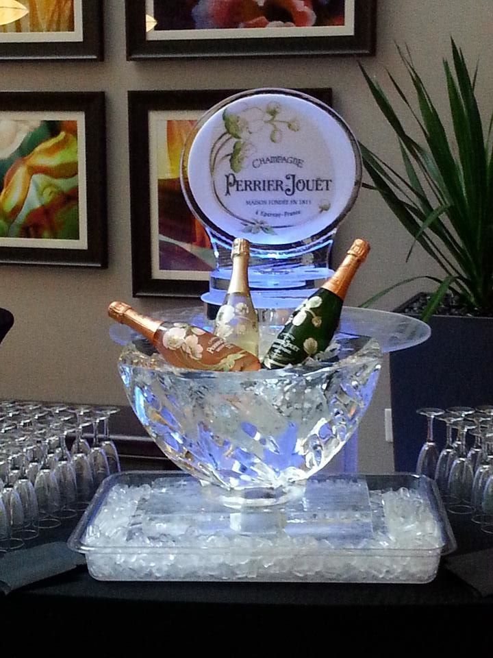 Champagne Bottle Display With Logo Ice Sculptures