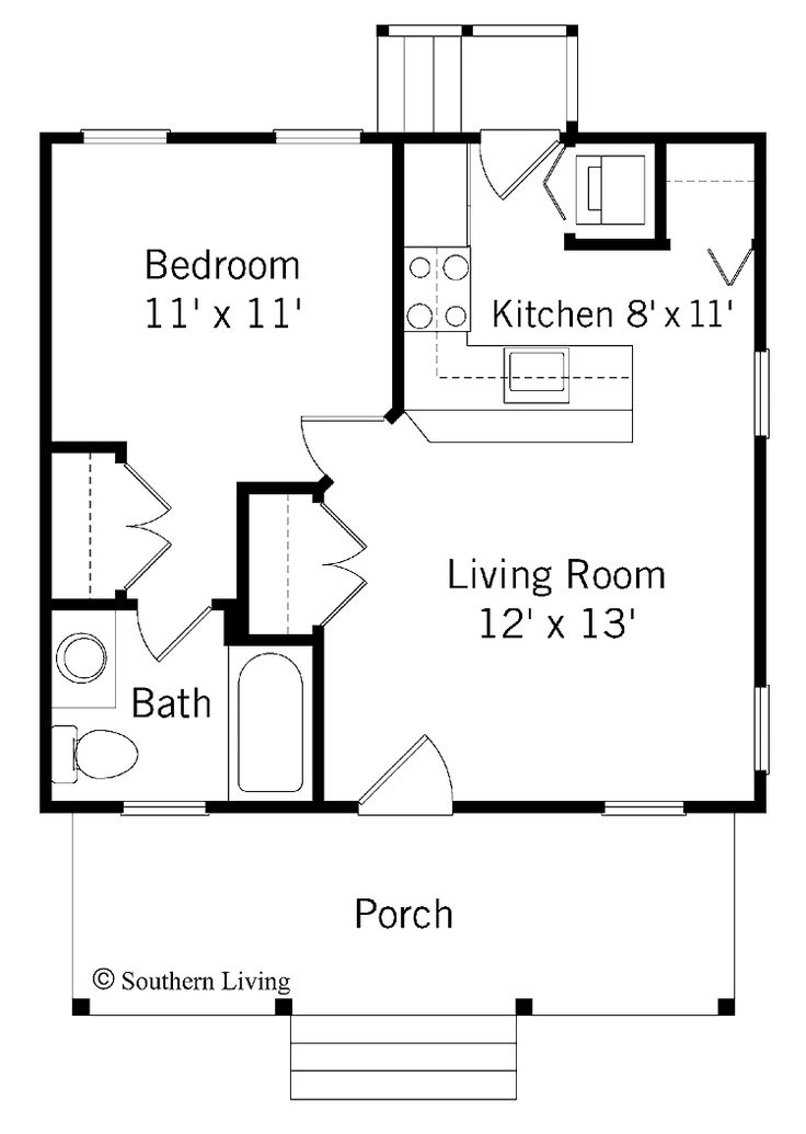 Home Plans HOMEPW24012 - 484 Square Feet, 1 Bedroom 1 Bathroom Bungalow Home with