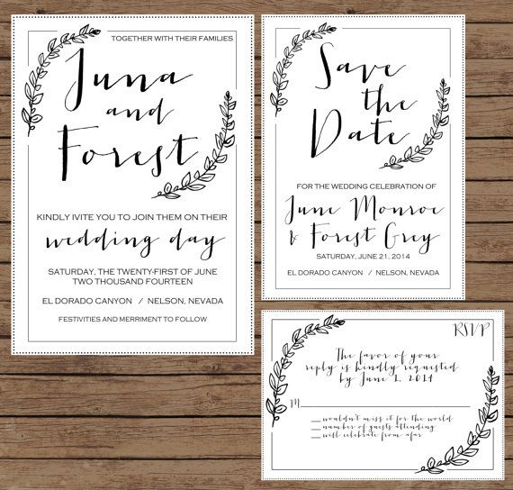 Modern Calligraphy Wedding Invitation by OliveJuiceStationery