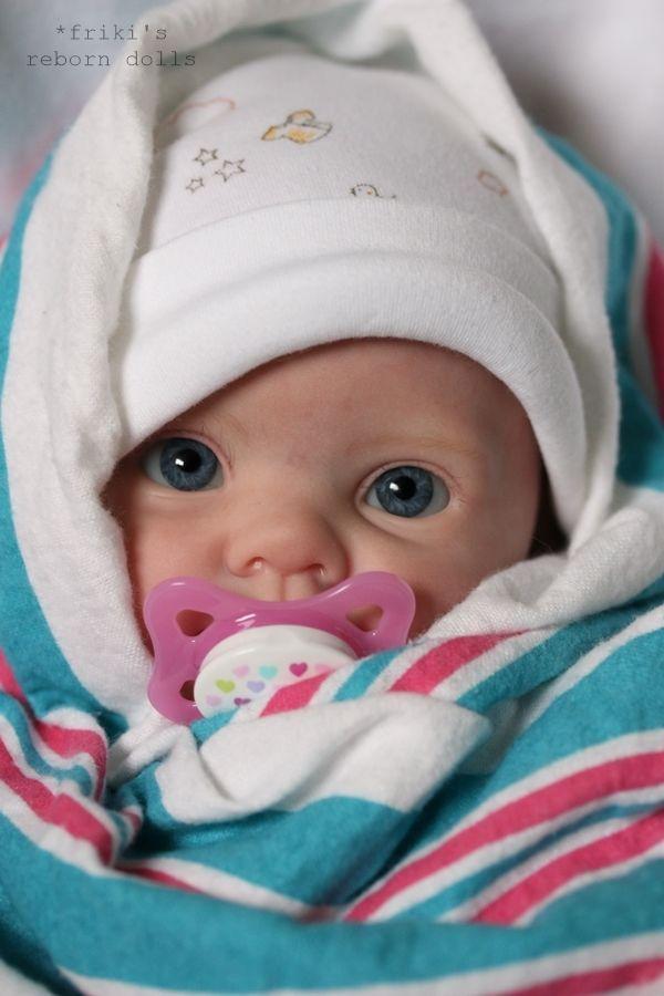 Amazingly lifelike reborn baby Dumplin by Donna RuBert  with gorgeous glass eyes