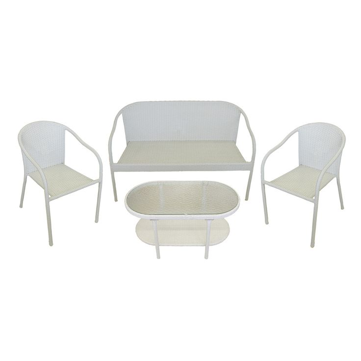 4-Piece White Resin Wicker Patio Furniture Set - Loveseat 2 Chairs & Glass Top Table