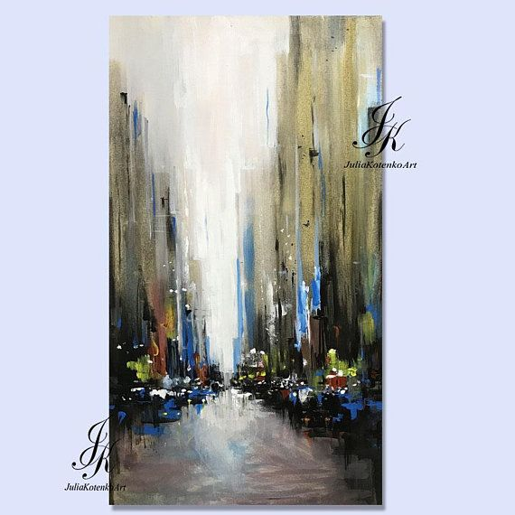Abstract City Acrylic Painting Cityscape Artworks This Painting Is