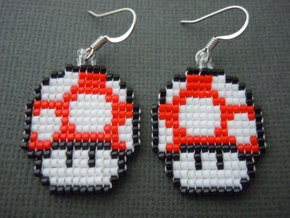Handmade Seed Bead Red Mushroom Earrings by Pixelosis on Etsy, $25.00