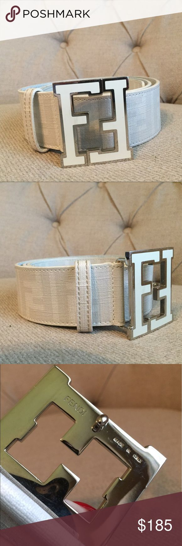 Fendi belt White canvas fendi belt size 90/36 has stain which I did not try to remove as seen in the last photo.. otherwise great condition slight color transfer but only on the interior of the belt. Yes it's authentic Fendi Accessories Belts