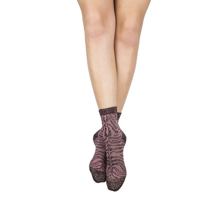 Chaussettes motifs forme socquettes couleur zebre violet et rose tendre taille 35-38 | My Lovely Socks