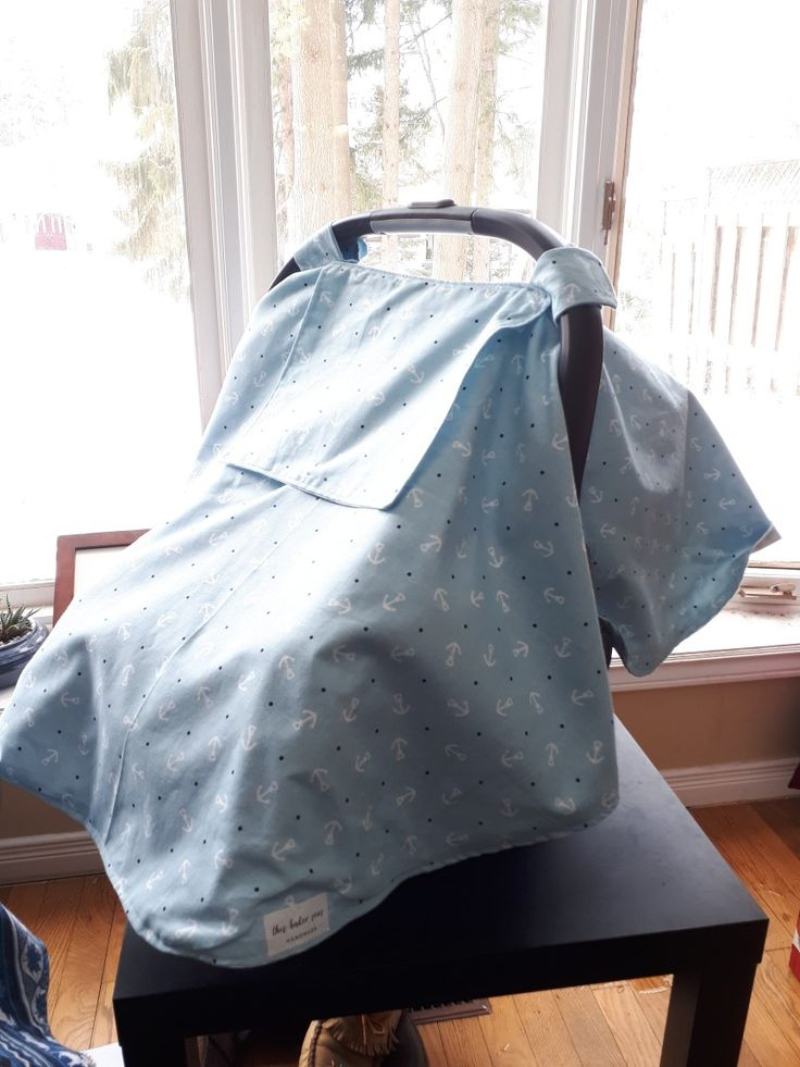 Baby blue car seat cover with anchors by this baker sews