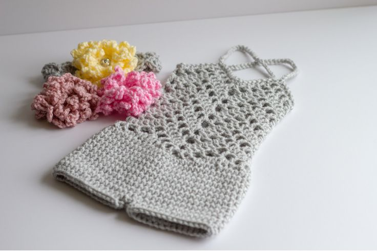 Baby Crochet Photography Prop Romper, Neutral Chevron Lacey Romper, Newborn Romper Flower Headband Set, Girly Baby Niece Gift, Ready to Ship by KBHandcraftedHats on Etsy https://www.etsy.com/listing/263528318/baby-crochet-photography-prop-romper