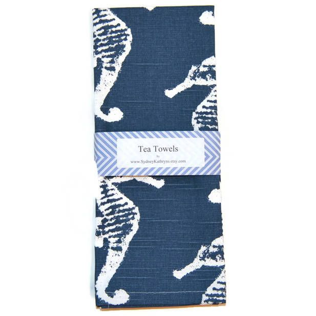 Tea Towel, Navy and White, Seahorse, Nautical Dish Towel, Set of 2, Decorative Kitchen Towel, Beach House Tea Towels, Blue and White by SydneyKathryns on Etsy