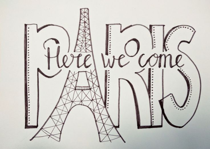 Handlettering Paris Parijs here we come
