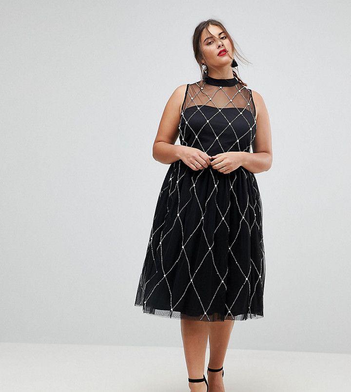 Plus Size ASOS CURVE PREMIUM High Neck Pearl Embellished Midi Prom Dress