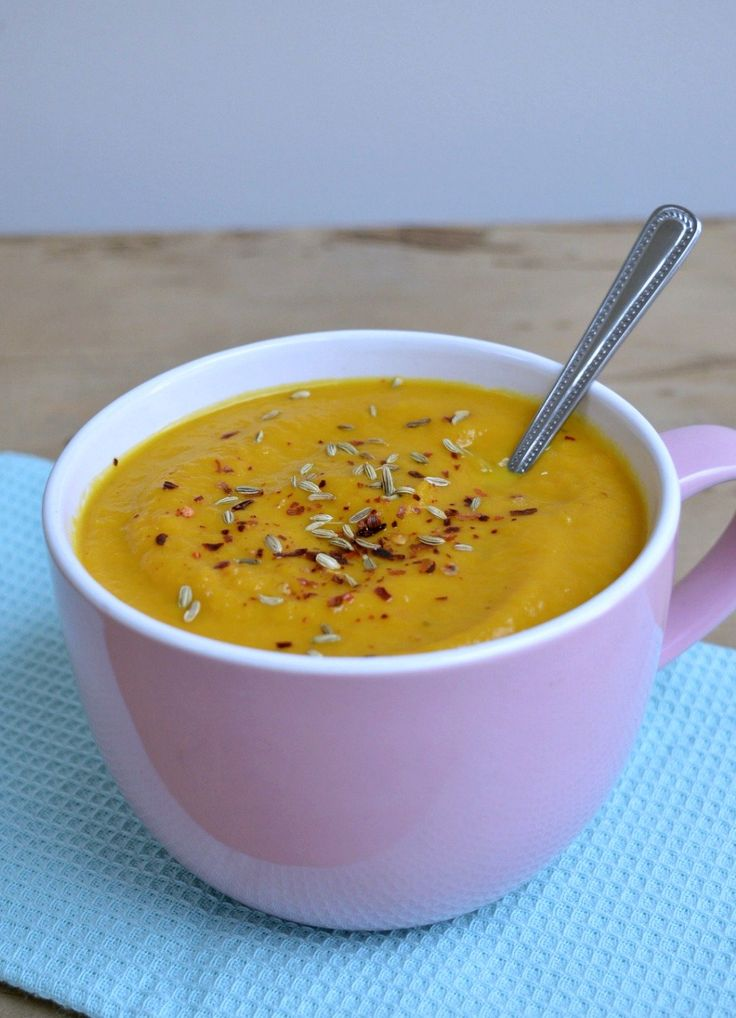 A delicious warming recipe for Thermomix Roast Carrot and Fennel Soup topped with a scattering of toasted fennel seeds and chilli flakes.