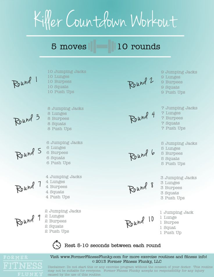 Killer Countdown: quick routine that incorporates exercise   you already know how to do in a high intensity format that allows you to get your heart pumping!