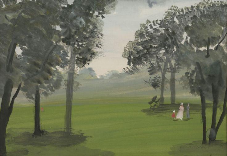 Φιγούρες με παλιές φορεσιές στο Hyde Park, 1951. Νερομπογιά σε χαρτί, 23,5 x 33,9 εκ. ©Ίδρυμα Γιάννη Τσαρούχη, Δωρεά Θεοδώρας Βλαστού-Δραγούμη