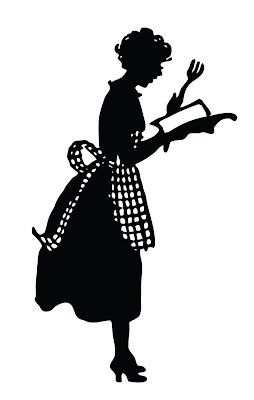 Vintage Silhouette – Cute Lady in Apron Put this image on an old cutting board and make an IPad holder     see graphics fairy.com