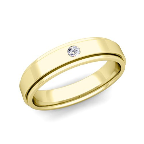 Solitaire Diamond Mens Wedding Ring in 18k Gold Comfort Fit Ring, 5mm. This  solitaire