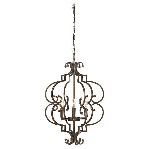 Relish stunning brilliance in the elegance of this pendant light. Its detailed metal framework in a dark copper-tone finish is formed into an arabesque design that's full of lyrical curves surrounding six candelabra-style lights, ideal for traditional looks. Signature Design by Ashley is a registered trademark of Ashley Furniture Industries, Inc.