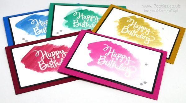 2016   Beautiful Birthday Cards Watercoloured All 5 Colours  Stylized Birthday Wood-Mount Stamp Set - 141828