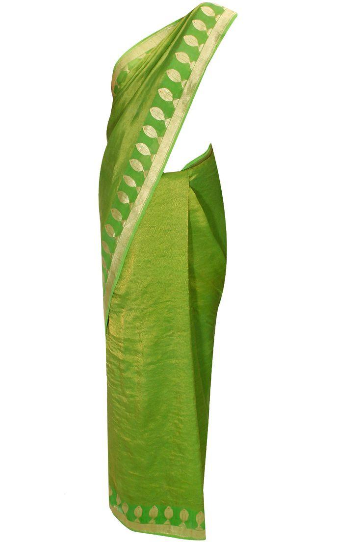 Light green gold handwoven leaf motifs sari with blouse piece by Anupama Dayal for Ekaya. Shop at: www.perniaspopupsop.com #sari #ekaya #anupamadayal #shopnow #perniaspopupshop #happyshopping.