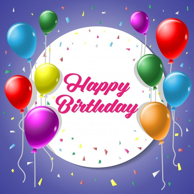 Happy Birthday Vector Greeting Card Background With Colorful