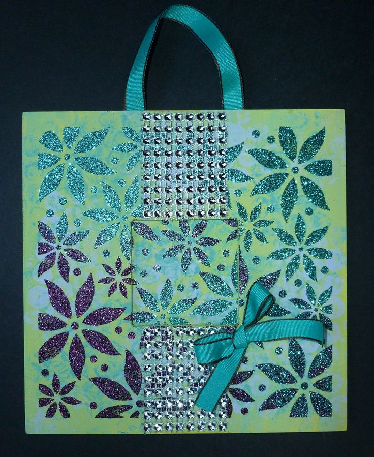 'Diamonds are a Girl's Best Friend'  MDF wall hanging.  Imagination Craft's - Magi-bond glue.  Metal spatula. MDF Charm Kit.  'Poinsettia multi' stencil.  Jade & Claret Sparkle Mediums.  Chalkies- soft sage, Agean. Citrus & Cornflower. October 2014.