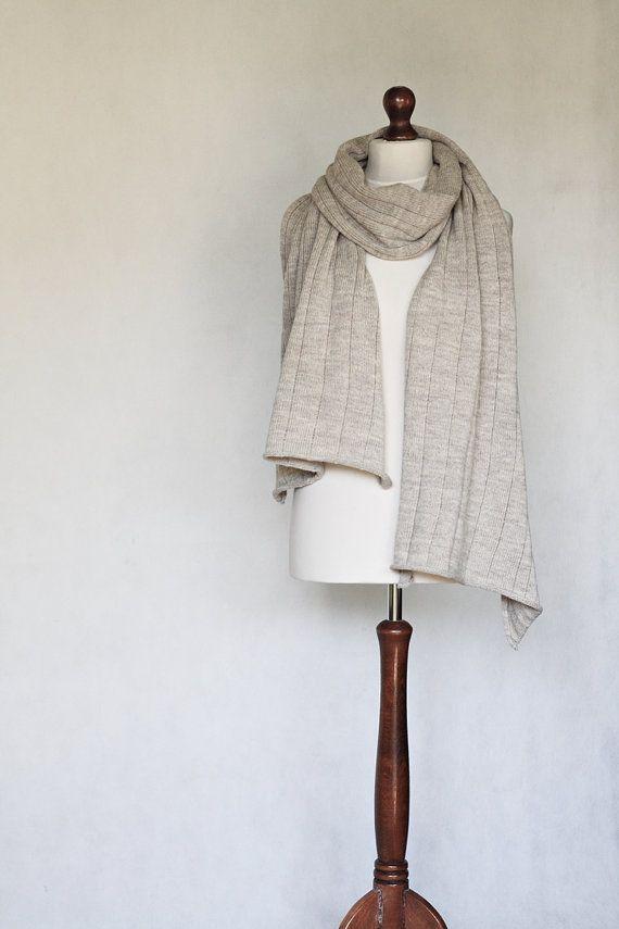 Etsy listing at https://www.etsy.com/listing/198500703/beige-shawl-beige-scarf-knit-scarf-knit