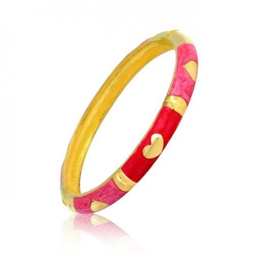 Pink Enamel Gold Plated Heart Bangle Bracelet