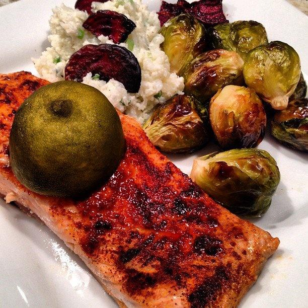 Chipotle Lime Salmon (courtesy elanaspantry.com) with caramalized ...