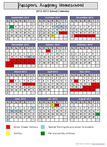 template to make your own academic calendar Homeschool Academic
