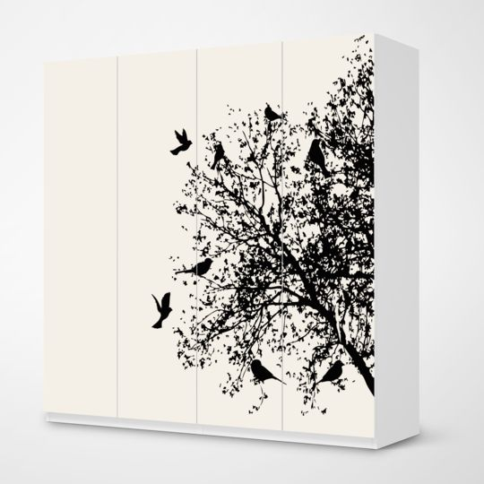 Popular M belfolie Tree and Birds f r deinen Pax Schrank