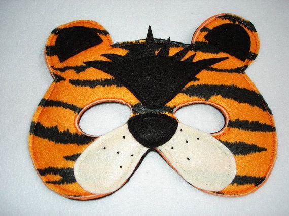 Tigre fieltro máscara Animal infantil por magicalattic en Etsy, $12.50