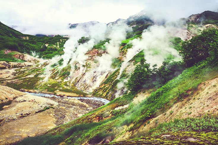 The Legendary Valley Of Geysers In The Summer. Kamchatka, Russia - 2 Photograph by Nadezhda Tikhaia   #NadezhdaTikhaiaFineArtPhotography #ArtForHome #HomeDecor #Nature #Landscapes #InteriorDesign #FineArtPrints