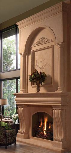 #fireplace overmantel COLONIAL fireplace stone mantel - OmegaMantels.com