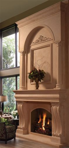 #fireplace overmantel COLONIAL fireplace stone mantel - OmegaMantels.com