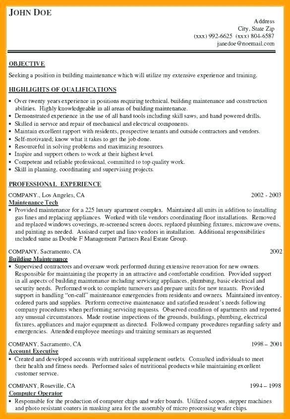 Building Maintenance Resume Sample Building Maintenance Resume Samplebuilding Maintenance Resume Sampl Resume Examples Resume Objective Resume Summary Examples