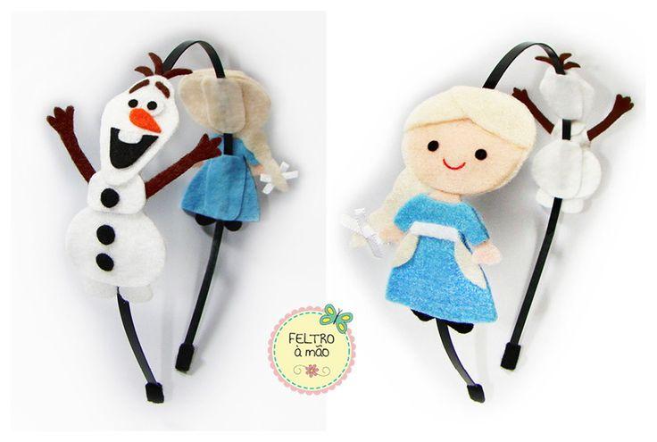 Arco de metal Frozen com Olaf e Elsa de feltro.                                                                                                                                                     Mais