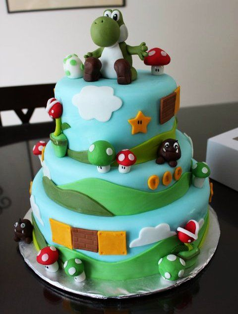 Yoshi Birthday Cake. would be totally cool to have this for my birthday but it's ok that it won't be.