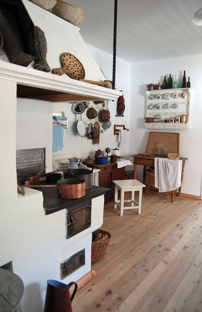 Kitchen inside a house in a small Galician town The Museum of Wooden Architecture in Sanok