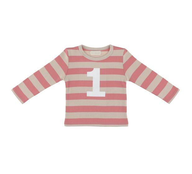 """T Shirt zandkleur en  oud roze strepen """"1"""""""