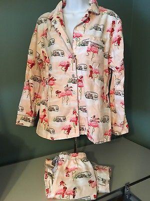 5b560e89dd #ebay - Nick-Nora Peach Flamingo Womens Flannel Pajama Set  Christmas-Airstream
