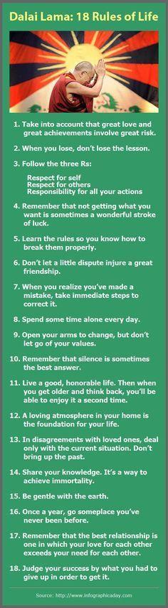 Dalai Lama: 18 Rules of Life http://www.lifehack.org/articles/lifestyle/dalai-lama-18-rules-life.html