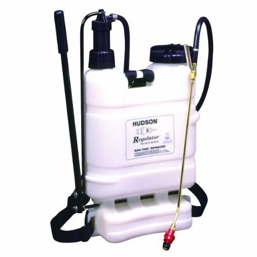 """Hudson 93594 Regulator 4 Gallon Sprayer Bak-Pak by Hudson. $104.68. Kem-Oil braided power sprayer-style hose--our most chemical resistant. CF Valve maintains 21 psi and shuts off flow when pressure drops. No-leak uni-body contoured tank design. Filler filter keeps out debris. Left or right handed pumping action. Padded straps. Strong brass 18"""" curved spray wand with brass TeeJet fan nozzle. Metal Roto-Valve control--rotates 360 degrees for ergonomic comfort. For home, lawn and..."""