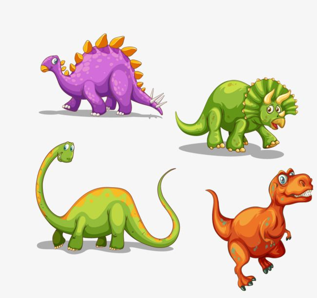 Vector Colored Cartoon Dinosaur Cartoon Vector Colors Png And