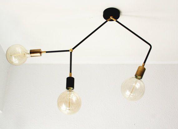 Moderne Vintage Sputnik 3 Arm Decke Flush von LightingLampDesign