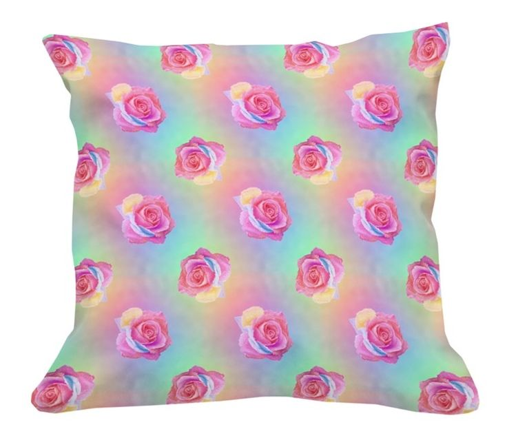Rainbow Rose fabric made up into bright colourful cushion. Fabric available at www.spoonflower.com/profiles/karwilbedesigns